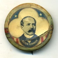 This 1904 Alton Parker button has a major crack on the lower right hand side detracting greatly from its visual appeal.