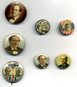 Group of seven William Jennings Bryan buttons from 1896 and 1900 with various condition problems including chips, foxing, celluloid separations, and dents. Some of the problems are more noticeable than others. The damage on each one greatly reduced its monetary value but not its historical or educational value.