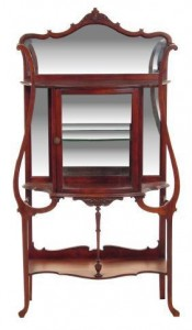 "Etagere – A series of shelves, usually freestanding, with their own columns for the display of ""objects de art."" This etagere is from the Art Nouveau period of the early 20th century."
