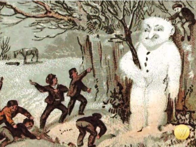 The snowman can be traced back to the Middle Ages. The colored images of early depictions of snowmen show them as part of the illuminated manuscripts of the era, drawn to illustrate an aphorism or to define a part of the written story. Over time, the snowman is depicted as benign or wicked in children stories, too.