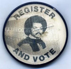 This Jesse Jackson flasher from the 1970s (an educated guess) has a crack in the worst place, right through his face and a stain or foxing directly underneath it. Yet, it is one of my most prized buttons because I have yet to learn the exact origin of when it was made and why.
