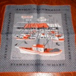 Keefe designed many hankies with scenes from around the country, including San Francisco's Fisherman's Wharf.