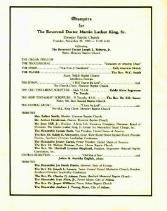 MLK Sr.'s funeral program