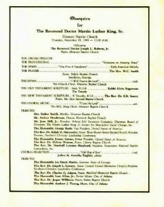MLK Sr.'s funeral program