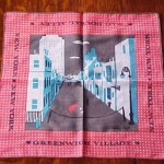This is another handkerchief from Keefe's New York series, this one showing a street scene in Greenwich Village.