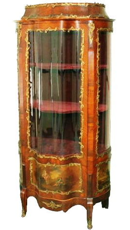 Ormolu – The metal trim on this early 20th century vitrine is called ormolu.