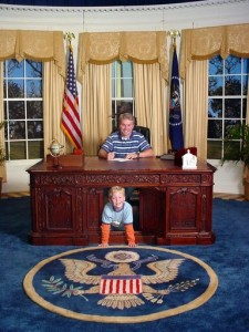 A John-John pose in the Oval Office replica