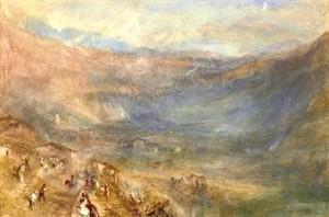 """Turner's """"Brunig Pass from Meiringen, Switzerland"""""""