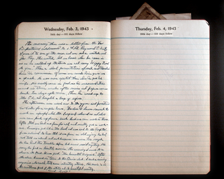 February 3, 1943 Diary Page  (click to enlarge)