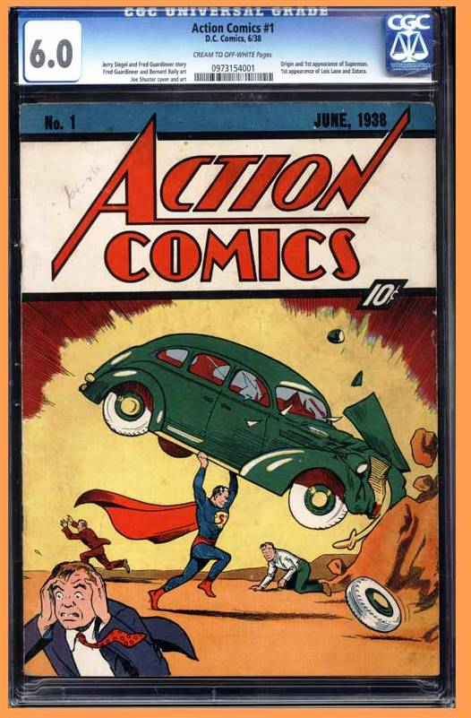 Action Comics #1. An unrestored copy of Action #1 went up for sale on Feb. 27, and experts expect it to draw bids up to $400,000.