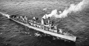 The USS Thatcher (DD-514) was commissioned on this day in 1943. The Thatcher would be heavily damaged by Japanese kamikaze aircraft on July 19, 1945, off Okinawa. (U.S. National Archives)