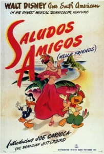 "A lobby poster for the RKO Radio Pictures Disney animated feature, ""Saludos Amigos,"" which was released on this day"