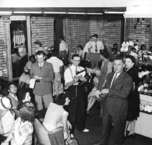 A rush was on to buy shoes, as it was announced on this day in 1943 that shoe rationing in the United States would be going into effect in two days. (Esther Bubley, Library of Congress)