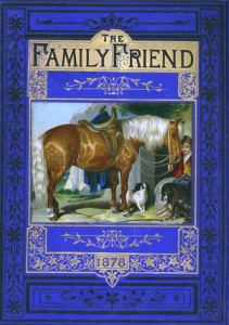 "This is an example of a paste-on illustration in fine condition for the cover of ""The Family Friend,"" 1878. No scratches, fading or wear. Bright and crisp."