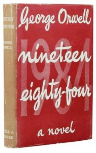 First edition dust jackets for Nineteen Eighty-Four, 1949, in both the red and the green variants.