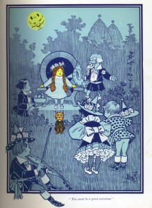 Illustration opposite page 34 for the first edition of The Wonderful Wizard of Oz, 1900. The two dark blue dots on the moon are one indication of the first state of this book. The dots were removed in the second state.