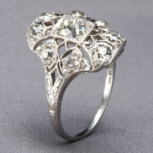Belle Époque diamond-and platinum ring
