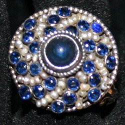 Victorian sapphire-and-pearl ring