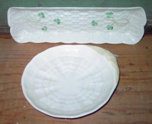 Belleek cracker tray and dessert bowl