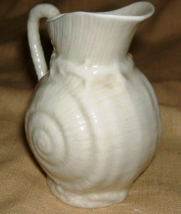 Belleek toy shell pitcher