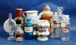 This is a sample of apothecary glass bottles and porcelain jars. Prices range from $25 to $485, with dates ranging from the 1840s to the 1930s.