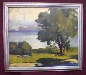 This watercolor by C. Wallingford (in soiled condition), sold for $90. (Source: Proxibid, Worthopedia Price Guide)