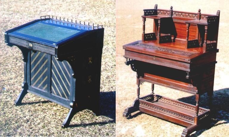 The desk on the left illustrates the Oriental approach. It is ebonized with gold incising. The desk on the right, in a wood finish, is the Moorish approach to the style with geometric fretwork. Both desks are based on Eastlake's design principles.