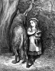"Black and white woodcut of Little Red Riding Hood by Gustave Doré for ""Perrault's Fairy Tales,"" 1883."