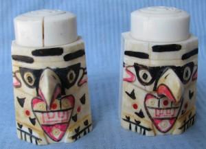 Eskimo-carved scrimshaw shakers