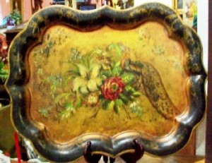 Hand-painted toleware tray