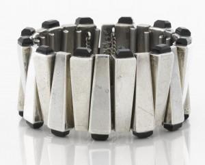 Antonio Pineda obsidian and silver bracelet