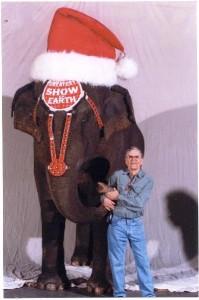 Larry Kellogg with his pal, Santa Elephant