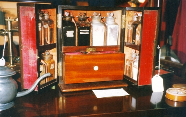 Beautiful little apothecary or Manor House chest, designed for the head of household to dispense medicines for common ailments, sold for $2,800 at Jekyll Island in 2000.