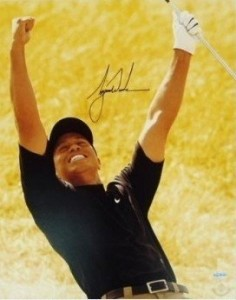 Tiger Woods autographed victory photo