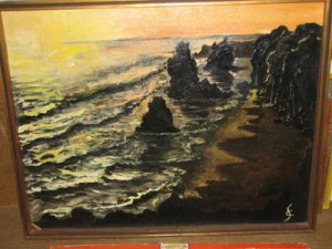 This oil painting of a seascape sold for $ 5. (Source: Proxibid, Worthopedia Price Guide)