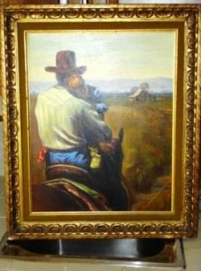 This oil painting of a rancher and child on horseback sold for $ 150. (Source: Proxibid, Worthopedia Price Guide)