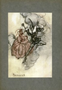 Dancing with the devil. A tipped in color plate by Arthur Rackham for The Ingoldsby Legends, 1920. The illustration is lightly affixed to the background cardstock at the very top edge. The cardstock itself is glued into the book along its inner left edge. This book also contains tissue guards that protect each illustration.