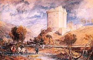 """Borthwick Castle,"""" watercolor on white wove paper, by Joseph Mallord William Turner, 1818."""
