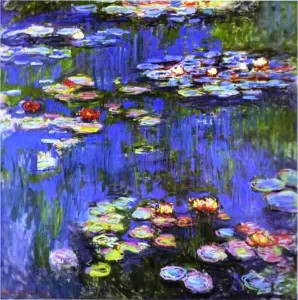 """Water Lilies,"""" oil on linen, by Claude Monet, 1916."""