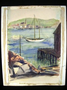 This unframed watercolor of a harbor scene by Z.V. Mathews sold for $71.50. (Source: Proxibid, Worthopedia Price Guide)