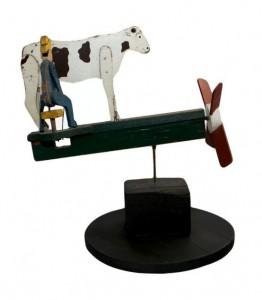 Milking cow whirligig