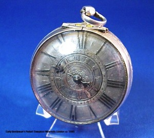 Early gentleman's pocket timepiece Windmills London, circa 1665.