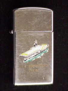 A Vintage 1959 USS Independence (CVA 62) Town & Country Zippo Lighter. Zippo is Used with wear. Basically, common wear for a lightly used Zippo.