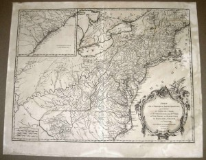 1755 Colonial America map