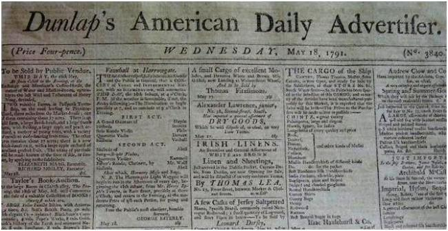 Dunlap's American Daily Advertiser May 18, 1791