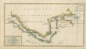Antique map of Strait of Magellan