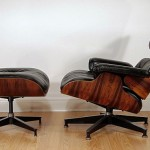 The real McCoy: The model 670 lounge chair and 671 ottoman designed by Charles and Ray Eames and produced by the Herman Miller furniture company.