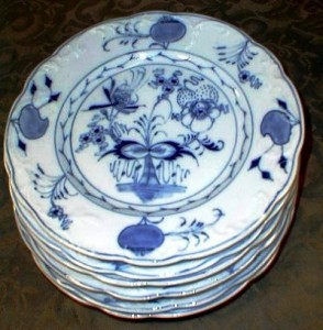 Late 19th century Meissen china plates with Blue Onion pattern.