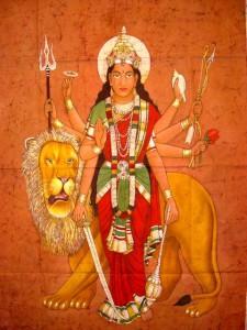 Batik painting of Durga