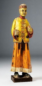 Carved and painted tea shop figure